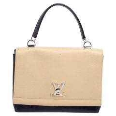 Louis Vuitton Black/Beige Leather Lockme II Bag