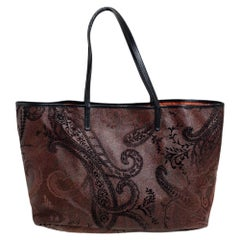 Etro Dark Brown Paisley Print Velvet and Coated Canvas Tote