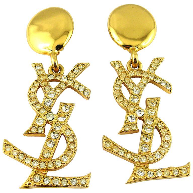 Yves Saint Laurent YSL Vintage Rare Massive Iconic Crystal Logo Earrings For Sale