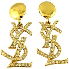Yves Saint Laurent YSL Vintage Massive Iconic Crystal Logo Earrings
