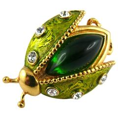 Christian Dior Vintage Rare Jeweled Ladybug Brooch