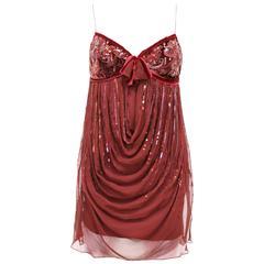 Christian Dior red silk chiffon and velvet embellished evening dress, c. 2005