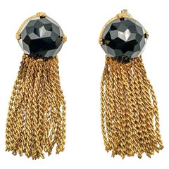 1950s Christian Dior Gold and Black Crystal Earrings