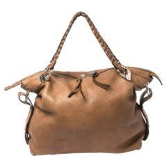 Gucci Brown Leather Bamboo Bar Large Shoulder Bag