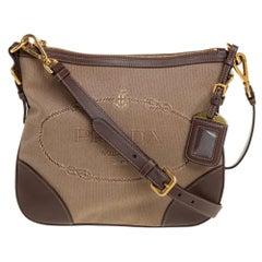 Prada Beige/Brown Canvas And Leather CrossBody Bag