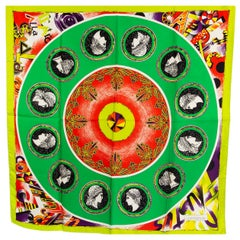 GIANNI VERSACE lime green silk COIN Print Scarf