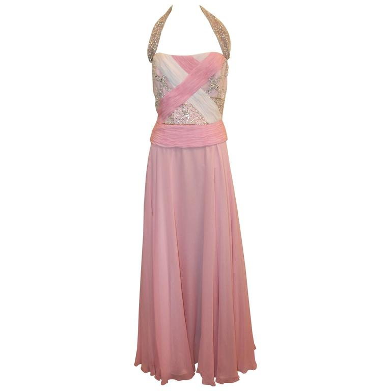 Bill Blass Pink Silk Chiffon & Mesh Gown with Beading - 10 1