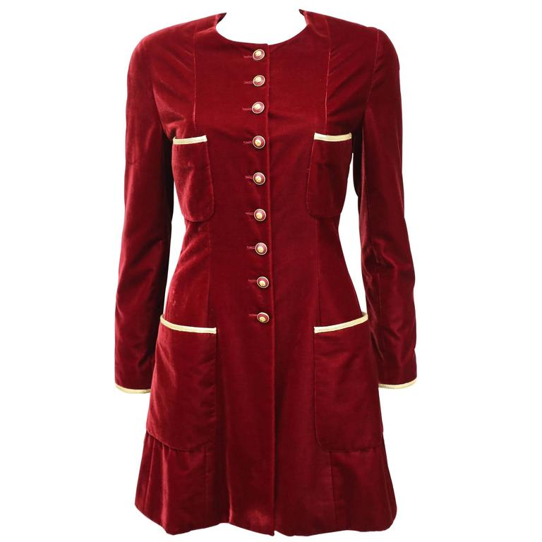 Chanel red velvet Napoleon style riding jacket, c. 1993