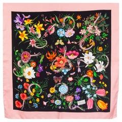 GUCCI pink black silk FLORA SNAKE Print Scarf