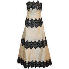 Helen Morley Ivory Silk Blend w/ Black Lace Strapless Gown w/ Shawl - 12