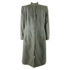 1990's Christian Dior Haute Couture Charcoal Grey Woollen Coat