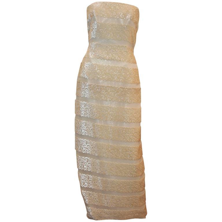 Michael Casey Silk Chiffon & Ivory Cut Velvet Strapless Gown - 10