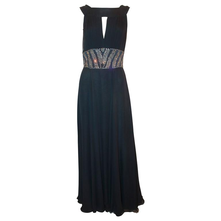 Reem Acra Navy Silk Chiffon Gown w/ Rhinestones, Ruched Bust, & Keyhole Slit -10 For Sale