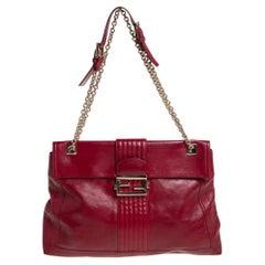 Fendi Red Leather Maxi Baguette Flap Shoulder Bag