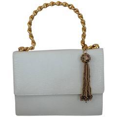Lana Marks White Lizard Handbag w/ Gold Link Handle & Chinese Cloisonné Tassel
