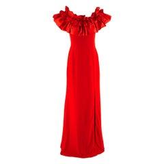 Alexander McQueen Off-shoulder Ruffle Detail Gown - US Size 4