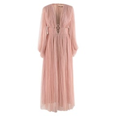 Maria Lucia Hohan Blush Pleated Plunge Neck Dress - US Size 6