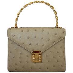 Lana Marks Vintage Beige Ostrich Small Top Handle Bag w/ Crossbody Strap - GHW