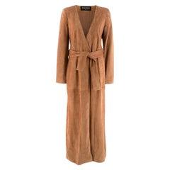 Balmain Long Brown Tie Up Women Coat - US Size 8