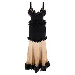 Alexander McQueen Black Silk-blend And Mesh Dress - US Size 6