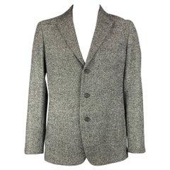 ISSEY MIYAKE Size 44 Black & White Textured Notch Lapel Sport Coat