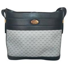 Gucci Vintage Navy Monogram Printed Bag w/ Leather & GHW