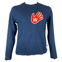 WALTER VAN BEIRENDONCK 2011 Hand On Heart Size XL Blue & Red Applique Pullover