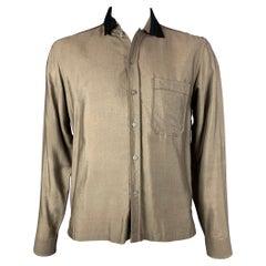 LANVIN Size XL Olive & Black Silk / Wool Long Sleeve Shirt