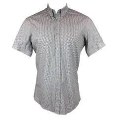 ALEXANDER MCQUEEN Size M Blue & Grey Skull Cotton Button Down Short Sleeve Shirt