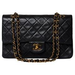 Chanel Classic Double Flap Bag Medium Black Lambskin Full-Set