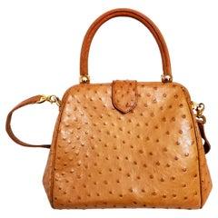Lana Marks Honey Ostrich Convertible Top Handle Shoulder Bag