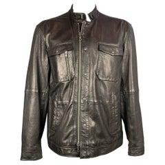 JOHN VARVATOS Size XXL Black Leather Zip Up & Snaps Jacket