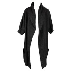 VINCE Size S Charcoal Knitted Alpaca Blend Hooded Cardigan