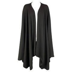 BARNEY'S NEW YORK One Size Black Knitted Merino Wool Poncho