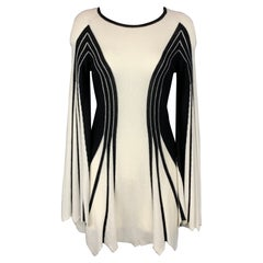 ANNE FONTAINE Athena Size 4 Black & White Color Block Wool Blend Dress