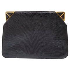 Judith Leiber Lizard Corner Clasps Clutch or Shoulder Bag