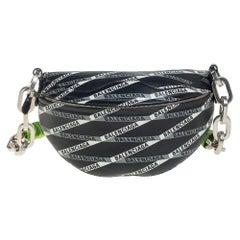 Balenciaga Black/White Leather XS Souvenir Bike Chain Bag
