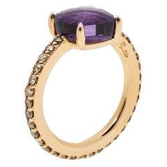 Pomellato Amethyst Pave Cognac Diamond 18K Rose Gold Ring Size 56