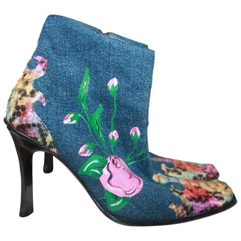 GianMarco Lorenzi Denim w/ Floral Paint & Multi Color Python & Brushed Heel - 35