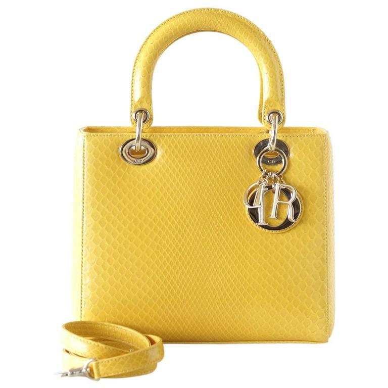 053f48db77b2 CHRISTIAN DIOR Bag Lady Dior Medium Beautiful Clear Yellow Snakeskin For  Sale