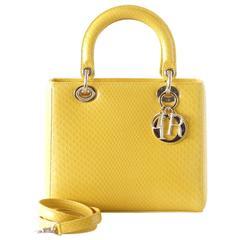 CHRISTIAN DIOR Bag Lady Dior Medium Beautiful Clear Yellow Snakeskin