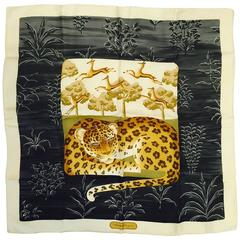 Salvatore Ferragamo Silk Twill Scarf With Lounging Leopard & Bounding Impala