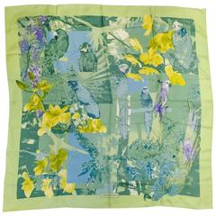 Salvatore Ferragamo Mint Green Silk Twill Floral and Exotic Bird Print Scarf