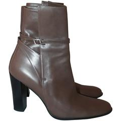 Hermes Taupe Leather Heeled Boots w/ Ankle Strap & Buckle - 39