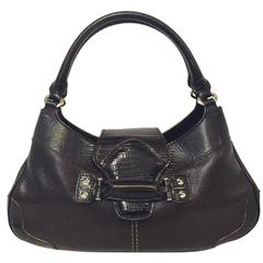 Tod's Brown Leather Satchel With Double Rolled Handles and Silver Tone Hardware