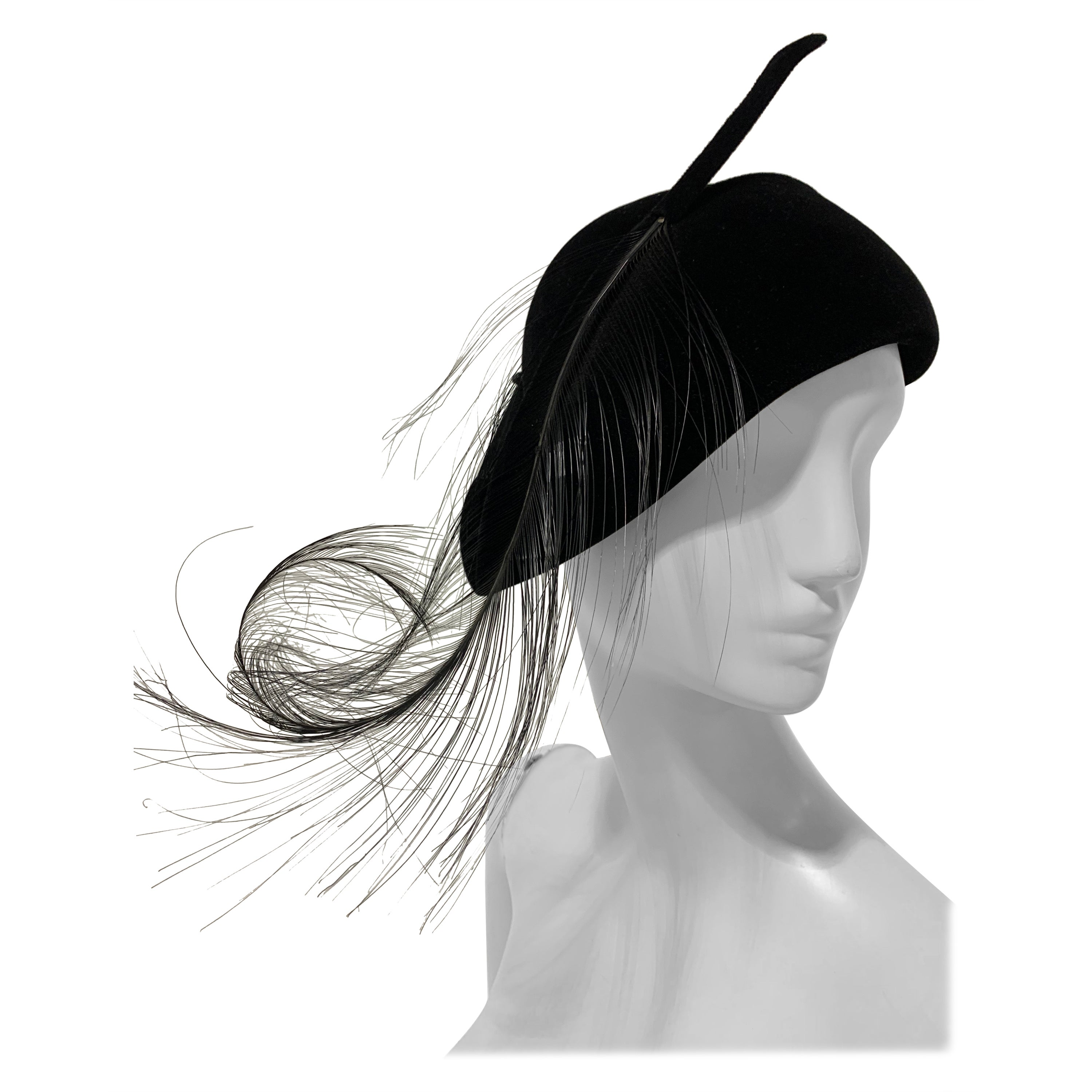 1940s Milgrim Black Cashmere Felt French Style Hat W/ Singed Ostrich Feathers
