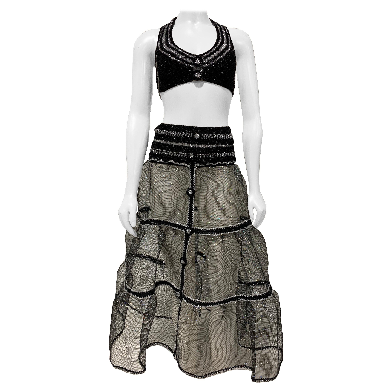Torso Creations Black & Silver Lurex Knit Bralette & Horsehair Crinoline Set