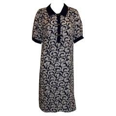 Vintage Hardy Amies Blue and White Silk Shirt Dress