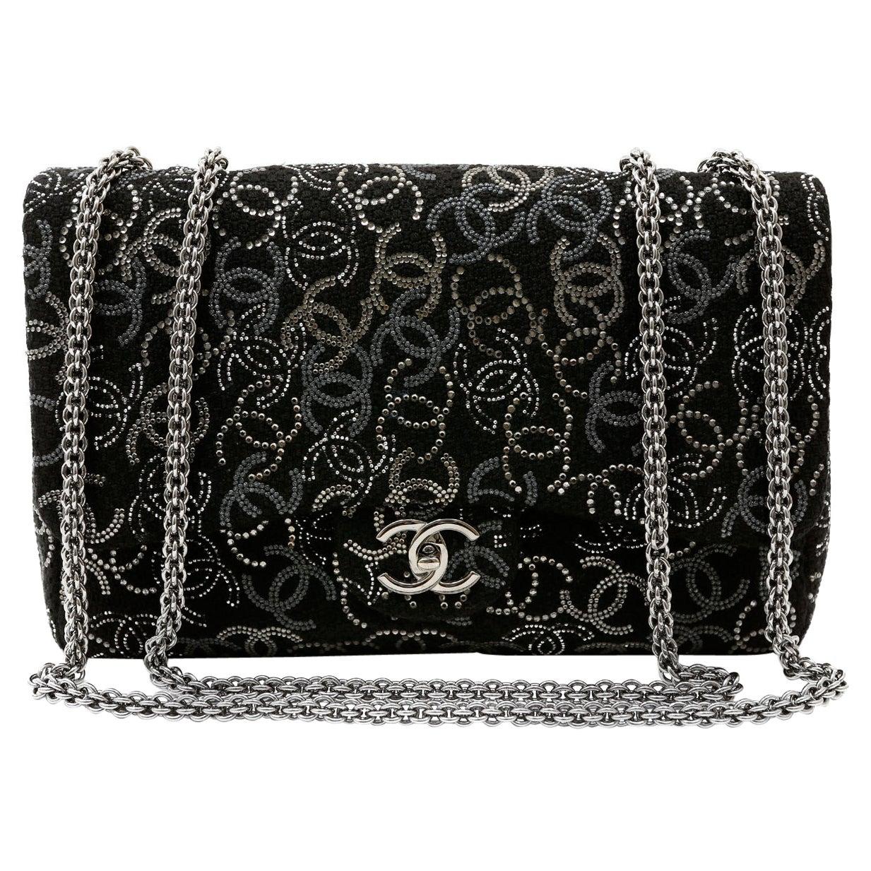 Chanel Black Tweed Swarovski Crystal Jumbo Classic Bag
