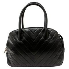 Chanel Black Chevron Leather Vintage Day Bag